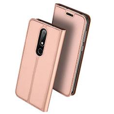Coque Portefeuille Livre Cuir Etui Clapet L01 pour Nokia X6 Or Rose