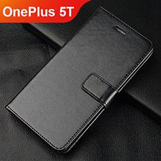 Coque Portefeuille Livre Cuir Etui Clapet L01 pour OnePlus 5T A5010 Noir