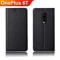Coque Portefeuille Livre Cuir Etui Clapet L01 pour OnePlus 6T Noir