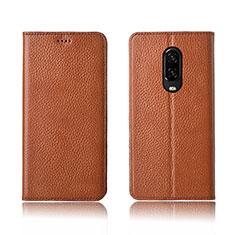Coque Portefeuille Livre Cuir Etui Clapet L01 pour OnePlus 6T Orange