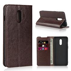 Coque Portefeuille Livre Cuir Etui Clapet L01 pour OnePlus 7 Marron
