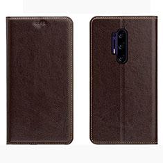 Coque Portefeuille Livre Cuir Etui Clapet L01 pour OnePlus 8 Pro Marron