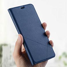 Coque Portefeuille Livre Cuir Etui Clapet L01 pour Oppo A7 Bleu