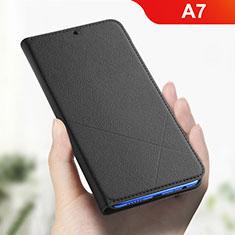 Coque Portefeuille Livre Cuir Etui Clapet L01 pour Oppo A7 Noir