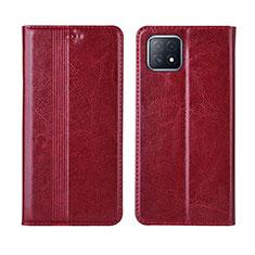 Coque Portefeuille Livre Cuir Etui Clapet L01 pour Oppo A73 5G Vin Rouge