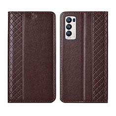 Coque Portefeuille Livre Cuir Etui Clapet L01 pour Oppo Reno5 Pro+ Plus 5G Marron