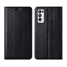 Coque Portefeuille Livre Cuir Etui Clapet L01 pour Oppo Reno5 Pro+ Plus 5G Noir