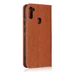 Coque Portefeuille Livre Cuir Etui Clapet L01 pour Samsung Galaxy A11 Brun Clair