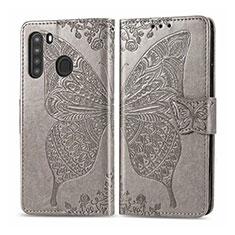 Coque Portefeuille Livre Cuir Etui Clapet L01 pour Samsung Galaxy A21 Gris