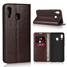 Coque Portefeuille Livre Cuir Etui Clapet L01 pour Samsung Galaxy A30 Marron