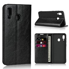 Coque Portefeuille Livre Cuir Etui Clapet L01 pour Samsung Galaxy A30 Noir
