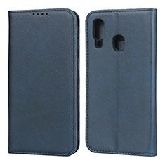 Coque Portefeuille Livre Cuir Etui Clapet L01 pour Samsung Galaxy A40 Bleu