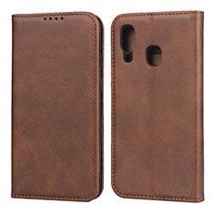 Coque Portefeuille Livre Cuir Etui Clapet L01 pour Samsung Galaxy A40 Marron