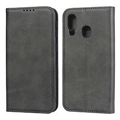 Coque Portefeuille Livre Cuir Etui Clapet L01 pour Samsung Galaxy A40 Noir