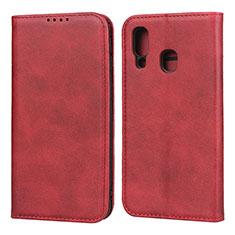 Coque Portefeuille Livre Cuir Etui Clapet L01 pour Samsung Galaxy A40 Rouge