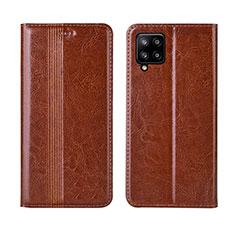 Coque Portefeuille Livre Cuir Etui Clapet L01 pour Samsung Galaxy A42 5G Brun Clair