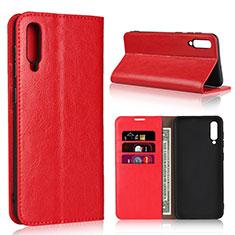 Coque Portefeuille Livre Cuir Etui Clapet L01 pour Samsung Galaxy A50 Rouge
