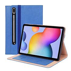 Coque Portefeuille Livre Cuir Etui Clapet L01 pour Samsung Galaxy Tab S7 Plus 12.4 Wi-Fi SM-T970 Bleu