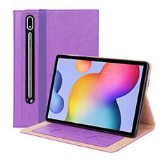 Coque Portefeuille Livre Cuir Etui Clapet L01 pour Samsung Galaxy Tab S7 Plus 12.4 Wi-Fi SM-T970 Violet