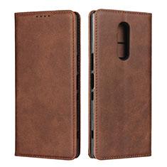Coque Portefeuille Livre Cuir Etui Clapet L01 pour Sony Xperia 1 Marron