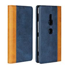 Coque Portefeuille Livre Cuir Etui Clapet L01 pour Sony Xperia XZ2 Bleu