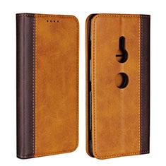 Coque Portefeuille Livre Cuir Etui Clapet L01 pour Sony Xperia XZ3 Orange
