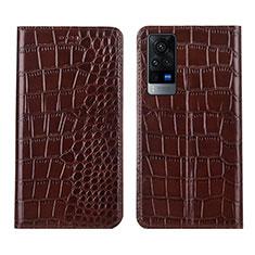 Coque Portefeuille Livre Cuir Etui Clapet L01 pour Vivo X60 5G Marron