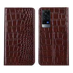 Coque Portefeuille Livre Cuir Etui Clapet L01 pour Vivo X60 Pro 5G Marron