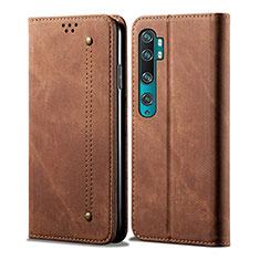 Coque Portefeuille Livre Cuir Etui Clapet L01 pour Xiaomi Mi Note 10 Marron