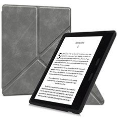 Coque Portefeuille Livre Cuir Etui Clapet L02 pour Amazon Kindle Oasis 7 inch Gris