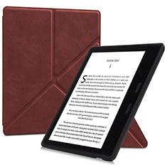 Coque Portefeuille Livre Cuir Etui Clapet L02 pour Amazon Kindle Oasis 7 inch Marron
