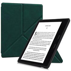 Coque Portefeuille Livre Cuir Etui Clapet L02 pour Amazon Kindle Oasis 7 inch Vert