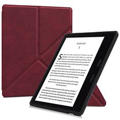 Coque Portefeuille Livre Cuir Etui Clapet L02 pour Amazon Kindle Oasis 7 inch Vin Rouge