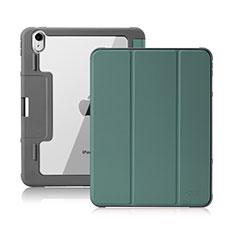 Coque Portefeuille Livre Cuir Etui Clapet L02 pour Apple iPad Air 4 10.9 (2020) Vert Nuit