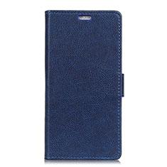 Coque Portefeuille Livre Cuir Etui Clapet L02 pour Asus ZenFone V500KL Bleu