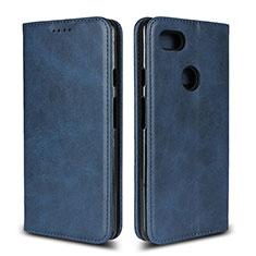 Coque Portefeuille Livre Cuir Etui Clapet L02 pour Google Pixel 3 XL Bleu