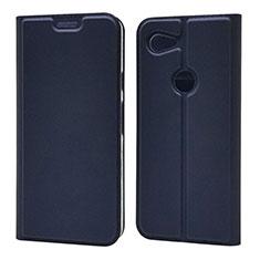Coque Portefeuille Livre Cuir Etui Clapet L02 pour Google Pixel 3a XL Bleu