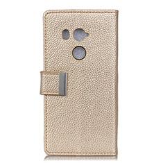 Coque Portefeuille Livre Cuir Etui Clapet L02 pour HTC U11 Eyes Or