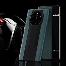 Coque Portefeuille Livre Cuir Etui Clapet L02 pour Huawei Mate 40 RS Vert Nuit