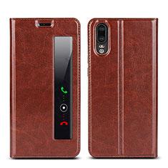 Coque Portefeuille Livre Cuir Etui Clapet L02 pour Huawei P20 Marron