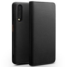 Coque Portefeuille Livre Cuir Etui Clapet L02 pour Huawei P30 Noir