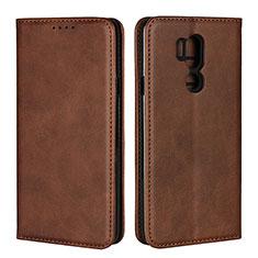 Coque Portefeuille Livre Cuir Etui Clapet L02 pour LG G7 Marron