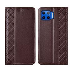Coque Portefeuille Livre Cuir Etui Clapet L02 pour Motorola Moto G 5G Plus Marron