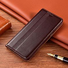 Coque Portefeuille Livre Cuir Etui Clapet L02 pour Motorola Moto G9 Play Marron
