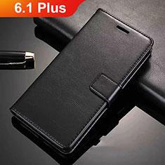 Coque Portefeuille Livre Cuir Etui Clapet L02 pour Nokia 6.1 Plus Noir
