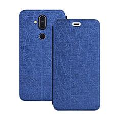 Coque Portefeuille Livre Cuir Etui Clapet L02 pour Nokia 7.1 Plus Bleu