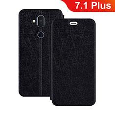 Coque Portefeuille Livre Cuir Etui Clapet L02 pour Nokia 7.1 Plus Noir
