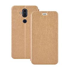 Coque Portefeuille Livre Cuir Etui Clapet L02 pour Nokia 7.1 Plus Or