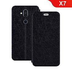 Coque Portefeuille Livre Cuir Etui Clapet L02 pour Nokia X7 Noir