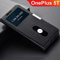 Coque Portefeuille Livre Cuir Etui Clapet L02 pour OnePlus 5T A5010 Noir